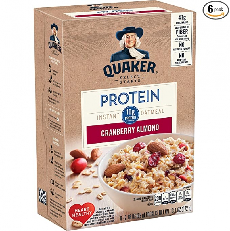 ihocon: Quaker Protein Instant Oatmeal, Cranberry Almond, 10g Protein, Individual Packets, 36 Count 桂格即食燕麥片