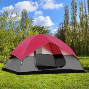 ihocon: GymaxPortable 6 Person Family Tent Easy Set-up Outdoor Camping Hiking Rainproof W/Bag  6人帳
