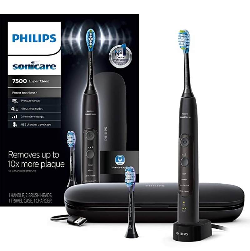 ihocon: Philips Sonicare HX9690/05 ExpertClean 7500 Bluetooth Rechargeable Electric Toothbrush, Black 飛利浦藍牙無線電動牙刷