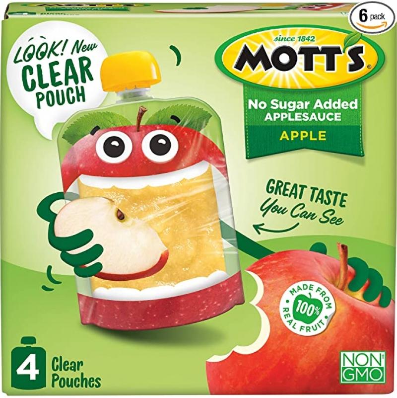 ihocon: Mott's No Sugar Added Applesauce, 3.2 Ounce (Pack of 24) 無添加糖蘋果泥