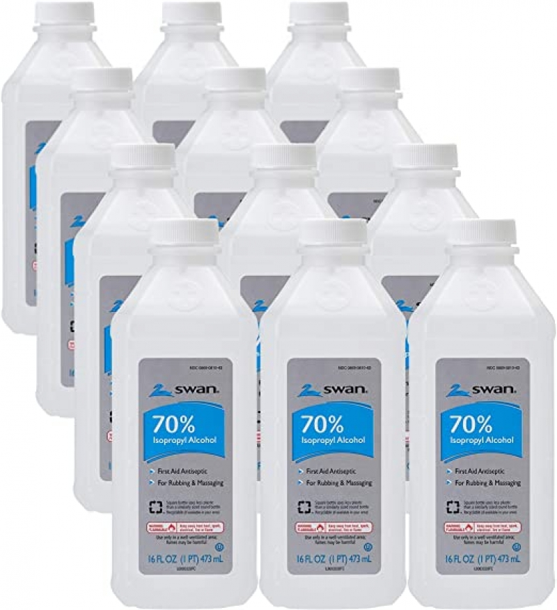 ihocon: Swan 70% Isopropyl Alcohol First Aid Antiseptic, 16 Fl Oz (Pack of 12)酒精