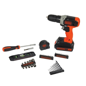 ihocon: BLACK+DECKER 20-Volt Lithium Cordless Drill With 44 Piece Project Kit 無線電鑽及配件