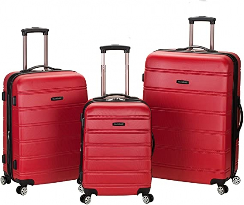 ihocon: Rockland Melbourne Hardside Expandable Spinner Wheel Luggage, Red, 3-Piece Set (20/24/28)硬殼行李箱