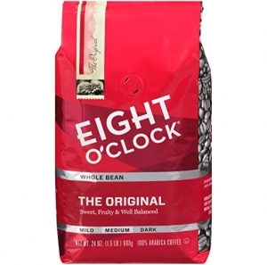 ihocon: Eight O'Clock Whole Bean Coffee, The Original, 24 Ounce 咖啡豆