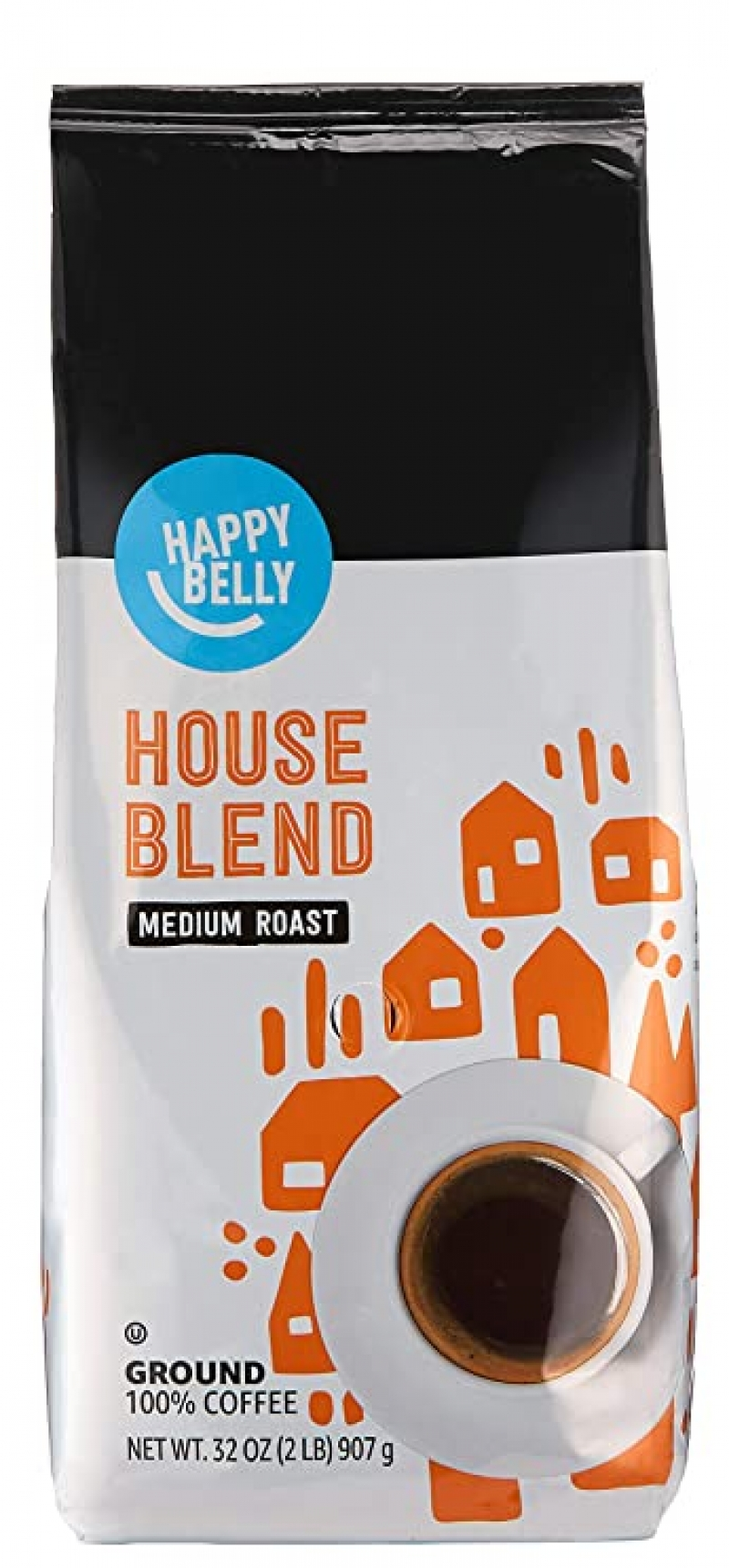 ihocon: [Amazon自家品牌] Happy Belly House Blend Ground Coffee, Medium Roast, 32 Ounce 研磨咖啡粉