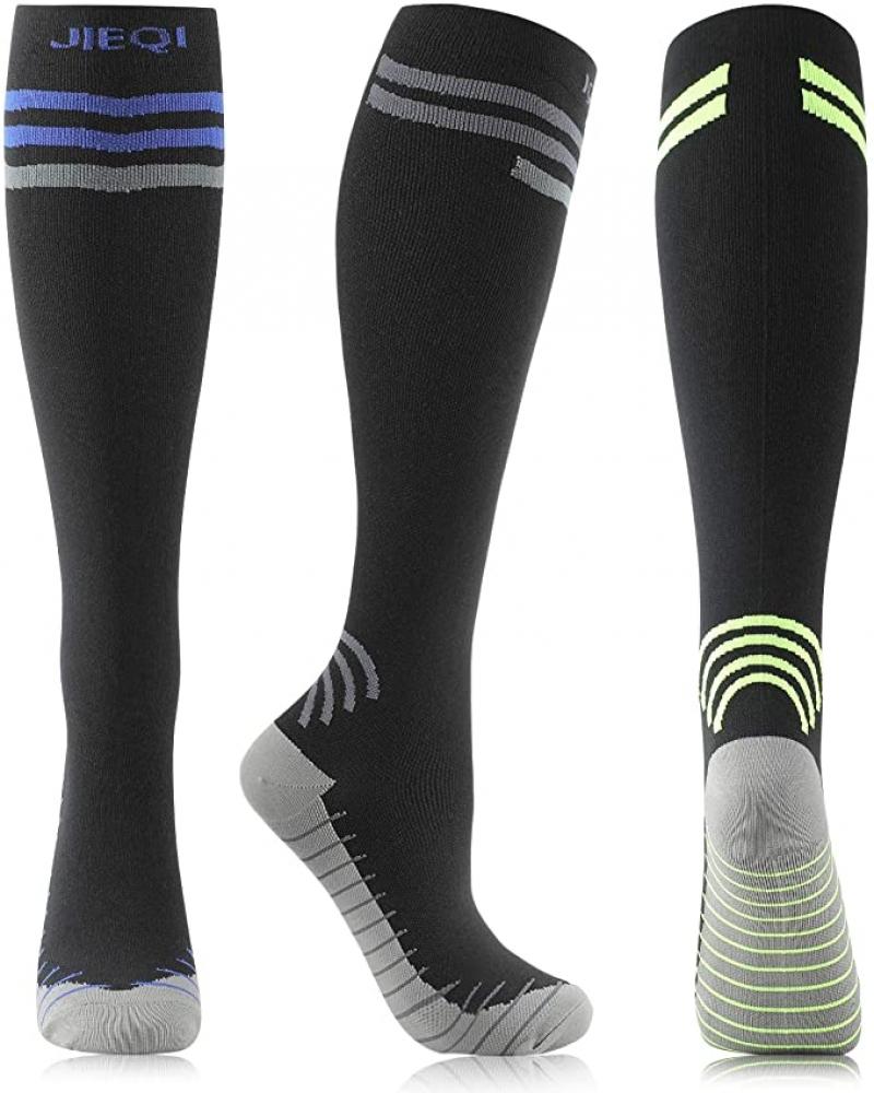 ihocon: JIEQI Compression Socks for Women Men 3 Pairs 15-20mmHg 壓縮襪3雙