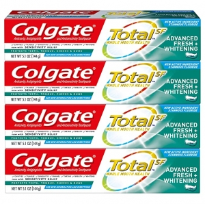 ihocon: Colgate Total Whitening Toothpaste, Advanced Fresh + Whitening  Gel, 5.1 Ounce (Pack of 4) 高露潔美白牙膏