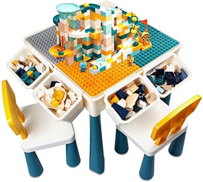 ihocon: Coodoo Toddler All-in-One Activity Table 兒童遊戲桌椅套裝(桌子+2把椅子+100個積木)