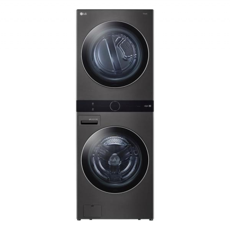 ihocon: LG Electronics 27 in. Black Steel WashTower Laundry Center with 4.5 cu. ft. Front Load Washer and 7.4 cu. ft. Electric Dryer 塔式洗衣機及烘衣機