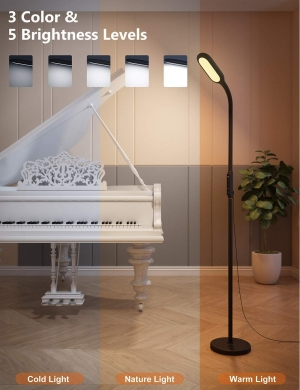 ihocon: LED Floor Lamp with 5 brightness levels & 3 colors for Reading Living Room, Touch Control, Philips Enabled Licensing Program (Black) 觸觸光線微調落地燈/立燈