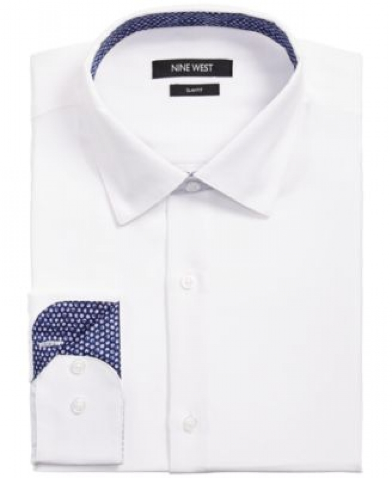 ihocon: Nine West Men's Slim-Fit Performance Stretch Solid Dress Shirt 男士襯衫