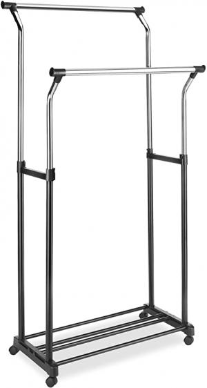 ihocon: Whitmor Adjustable Double Garment Rack -Rolling Clothes Organizer 晾衣架