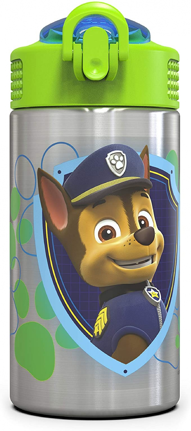 ihocon: Zak Designs Paw Patrol 15.5oz Stainless Steel Kids Water Bottle with Flip-up Straw Spout 不銹鋼兒童吸管水壺