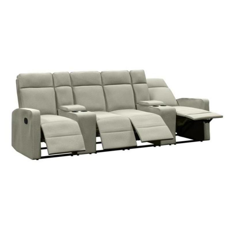 ihocon: ProLounger 4-Seat Reclining Sofa 114 in. Wide with 2-Storage Consoles in Tan Chenille  四人可躺沙發