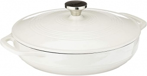 ihocon: Lodge Enameled Cast Iron Casserole With Steel Knob and Loop Handles, 3.6 Quart, 琺瑯鑄鐵砂鍋