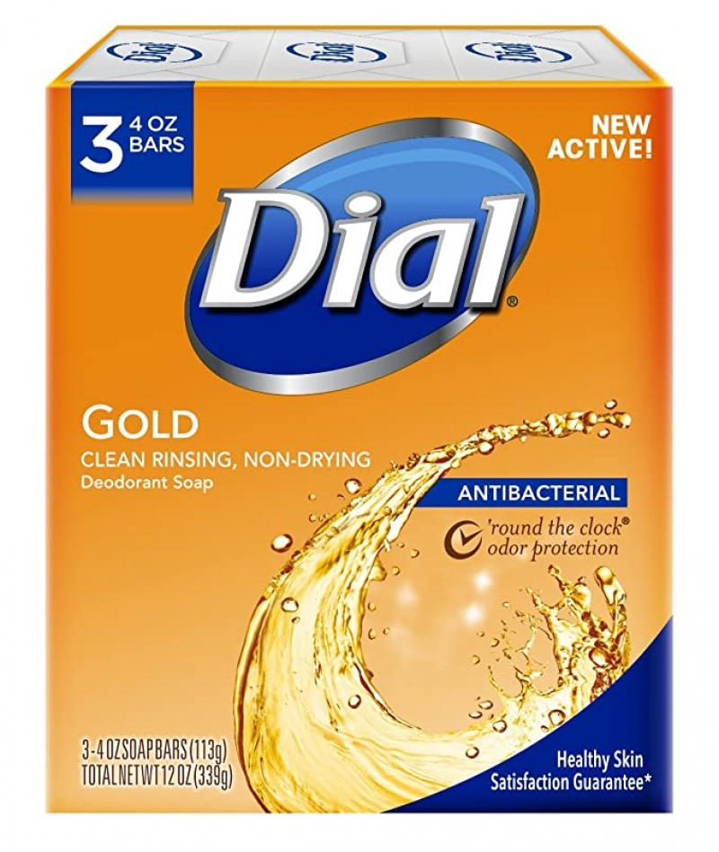 ihocon: Dial Antibacterial Deodorant Bar Soap, Gold, 4 Ounce, 3 Bars 抗菌香皂