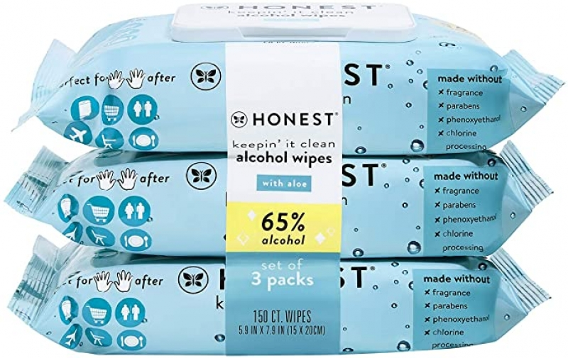 ihocon: The Honest Company Keepin' It Clean Alcohol Wipes, 150 Count 酒精消毒濕巾