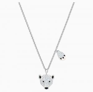 ihocon: Swarovski 施華洛世奇水晶 Polar Bestiary Pendant, Multi-colored, Rhodium plated 北極熊項鍊