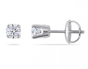 ihocon: Amour .50 CT TW Diamond Stud Earrings in 14K White Gold (Screwback) 鑽石耳環