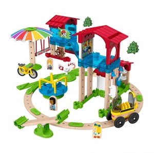 ihocon: Fisher-Price Wonder Makers Slide & Ride Schoolyard - 75+ Piece Building and Wooden Track Play Set組合積木
