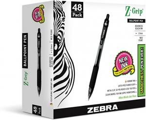 ihocon: Zebra Pen Z-Grip Retractable Ballpoint Pen, Medium Point, 1.0mm, Black Ink, - 48 Pieces 按壓式原子筆