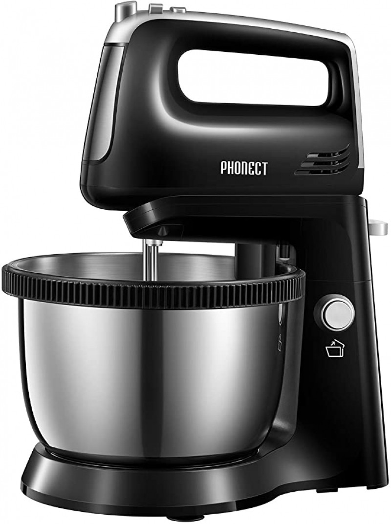 ihocon: Stand Mixer 2 in 1 Hand Mixer Electric with 3.7 Quarts Stainless Steel Bowl (360°Uniform Rotation), 5 Speed, 250W 2合1 手持/立式攪拌機