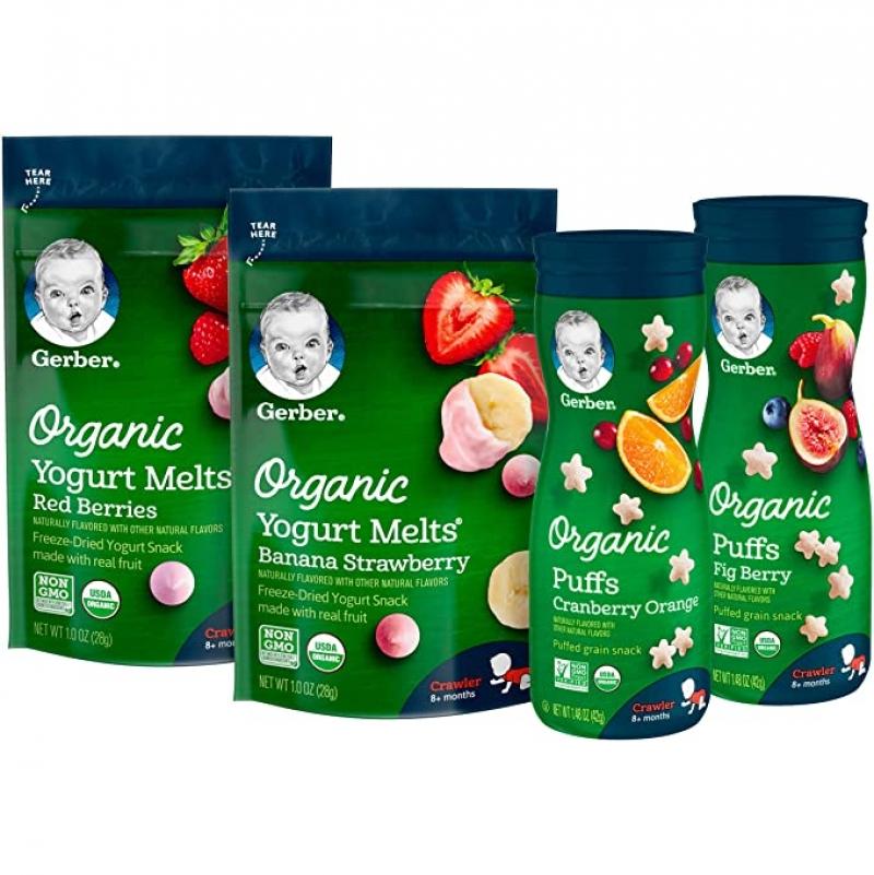 ihocon: Gerber Up Age Snacks Variety Pack - Organic Yogurt Melts & Organic Puffs, 7Count 兒童有機點心