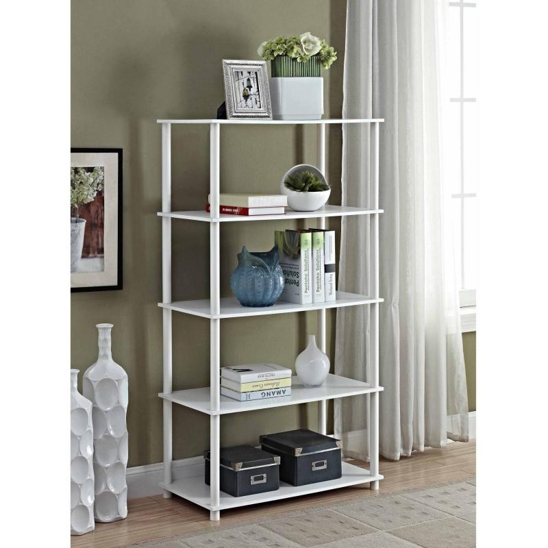 ihocon: Mainstays No Tools 5 Shelf Standard Storage Bookshelf 五層置物架,白色