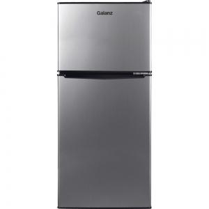 ihocon: Galanz 7.6 cu. ft. Top Freezer Refrigerator with Dual Door in Stainless Steel Look 不銹鋼雙門小冰箱
