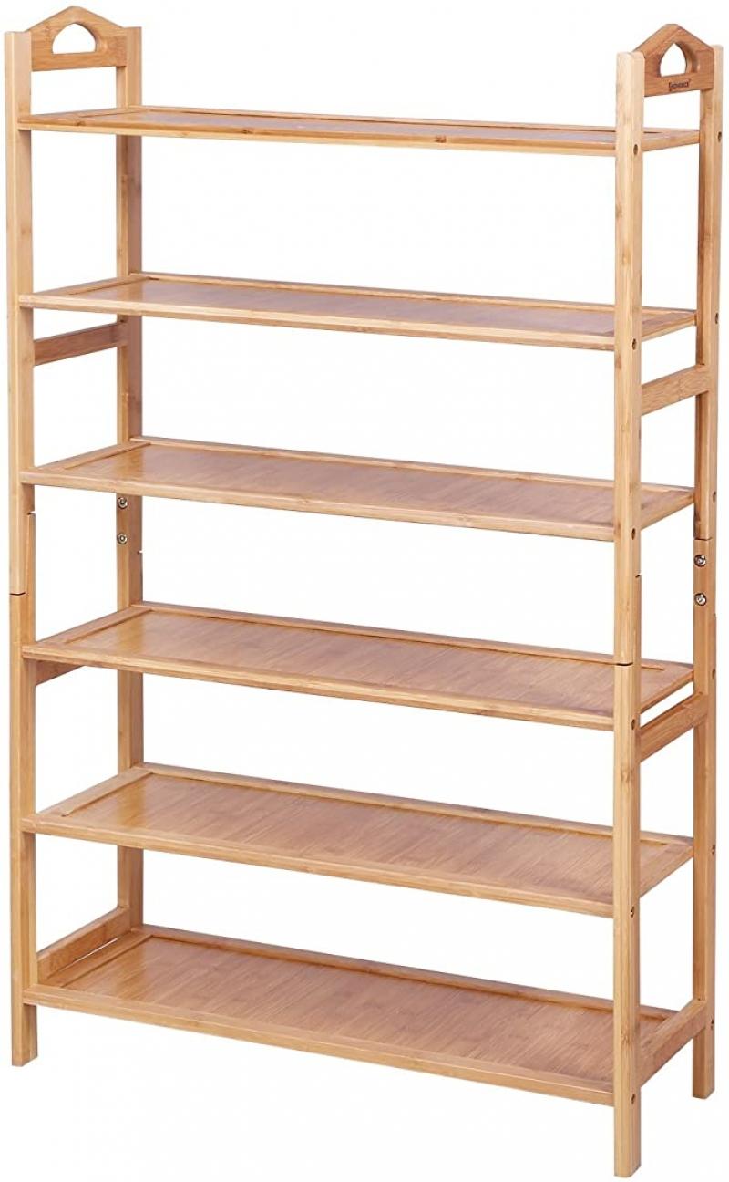 ihocon: SONGMICS Shoe Rack, 6-tier, Fresh Maple  六層鞋架