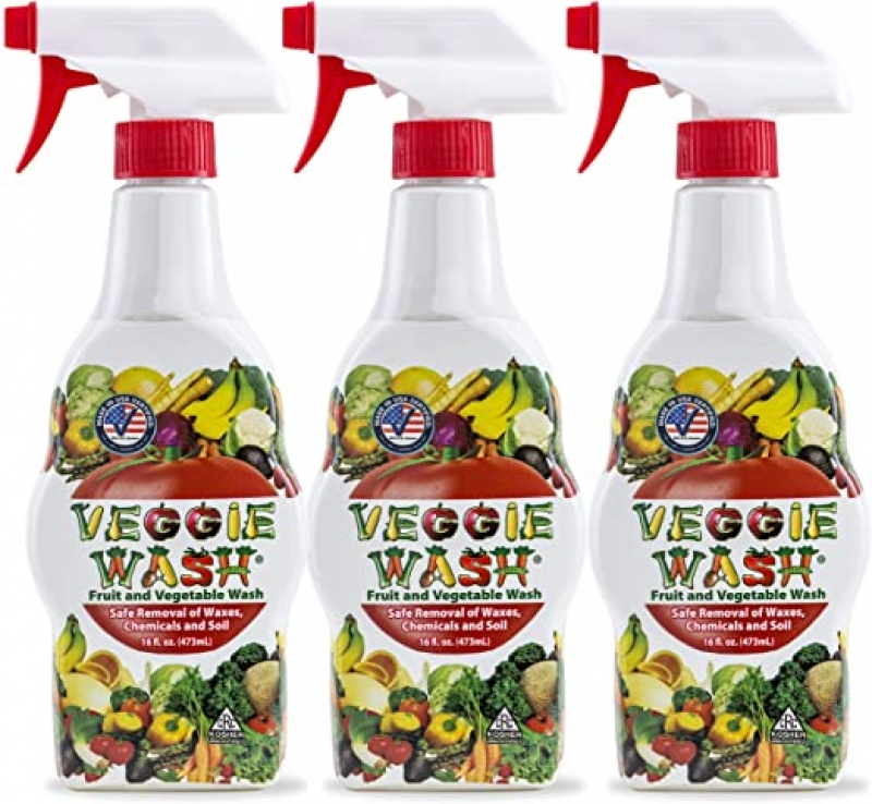 ihocon: Veggie Wash All Natural Fruit and Vegetable Wash Sprayer, Pack of 3, 16-Ounce Each 天然蔬果清潔劑