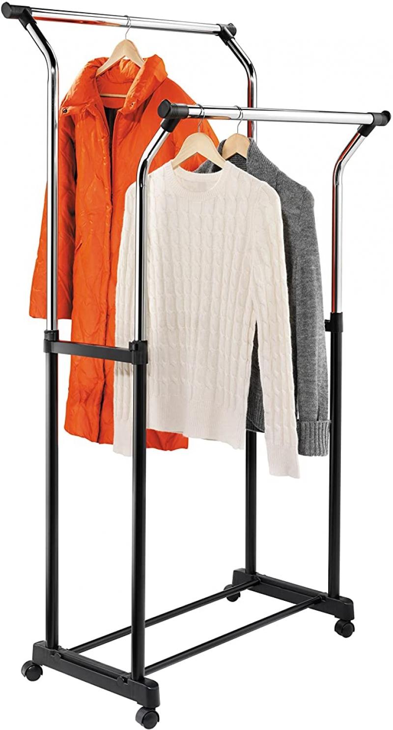 ihocon: Honey-Can-Do GAR-01119 Adjustable Flared Double Garment Rack 晾衣架
