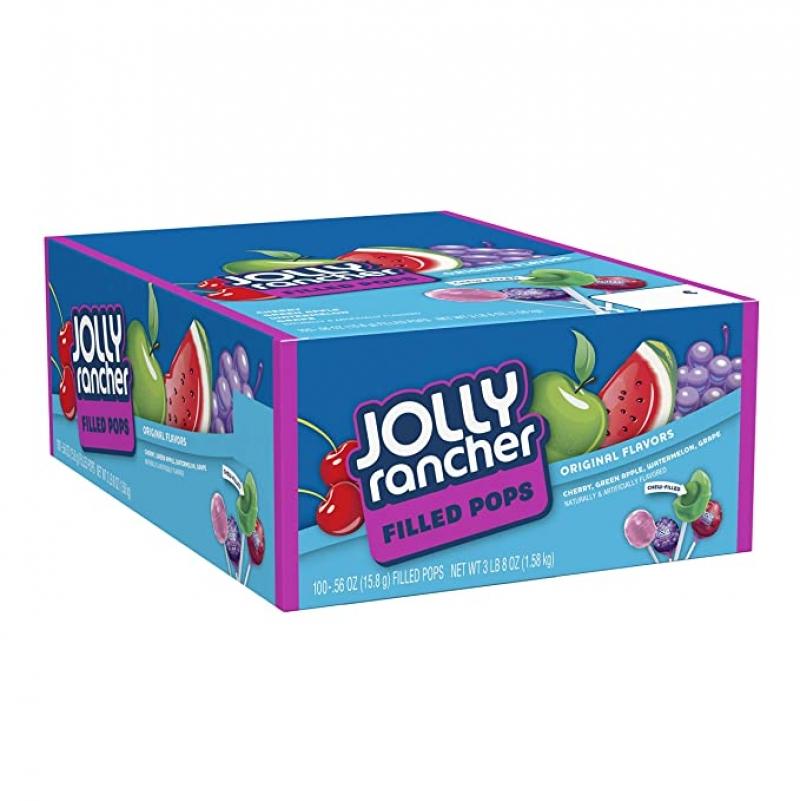 ihocon: JOLLY RANCHER Filled Candy Lollipops, Assorted Flavors, 100 Count 多種口味包饀棒棒糖