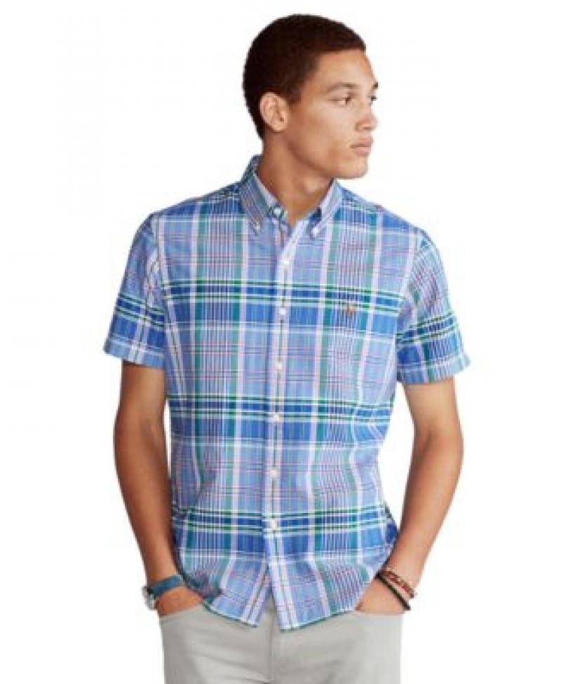 ihocon: Polo Ralph Lauren Men's Classic-Fit Plaid Oxford Shirt   男士短袖襯衫