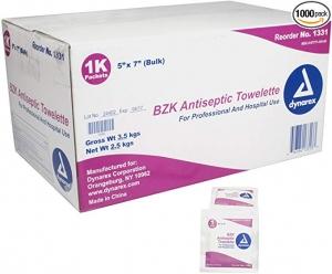 ihocon: Dynarex BZK Antiseptic Towelettes 5 x 7 1000/cs Bulk  消毒紙