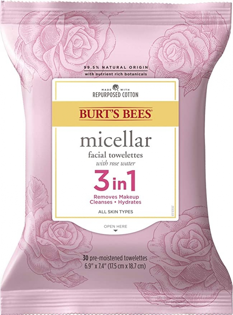 ihocon: Burt's Bees 3 in 1 Micellar Facial Cleanser Towelettes and Makeup Remover Wipes with Rose Water, 30 Count 玫瑰潔面/卸妝濕巾