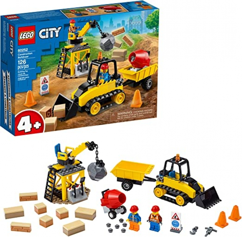 ihocon: [2020新款] LEGO City Construction Bulldozer 60252 Toy Construction Set, Cool Building Set for Kids, New 2020 (126 Pieces)
