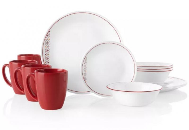 ihocon: Corelle Classic 16pc Glass Fusion Chili Dinnerware Set 康寧四人份餐盤組