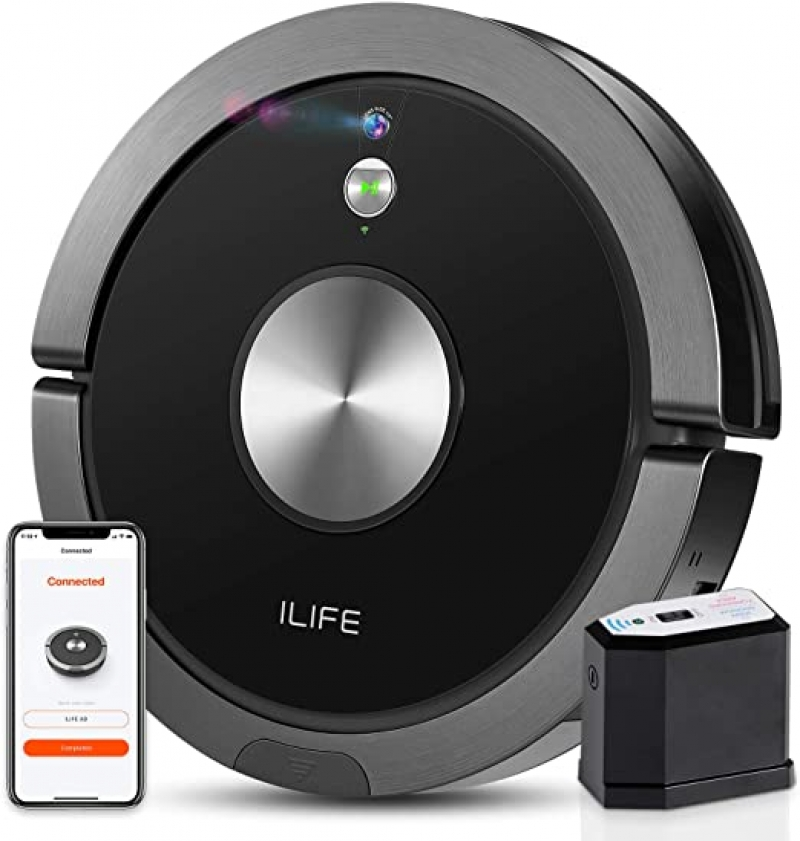 ihocon: ILIFE A9 Robot Vacuum, Mapping, Wi-Fi, Cellular Dustbin, Strong Suction, 2-in-1 Roller Brush, Self-Charging, Compatible with Alexa 自充電吸地機器人