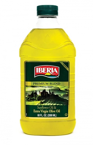 ihocon: Iberia Extra Virgin Olive Oil & Sunflower Oil Blend, High Heat Frying, All Purpose Cooking Oil, Baking & Deep Frying Oil from Spain, Kosher, 68 Fl Oz 初榨橄欖油+葵花籽油(可高溫油炸,烘焙)