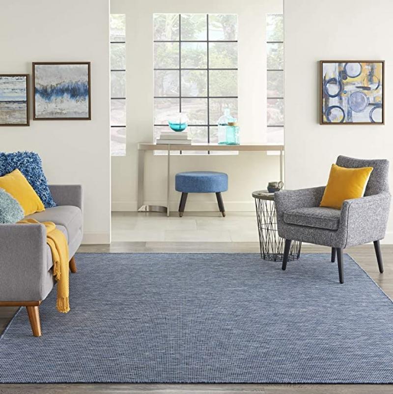 ihocon: Nourison Positano Flat-Weave Indoor/Outdoor Navy Blue 5' x 7' Area Rug 室內/室外地毯 - 多色可選