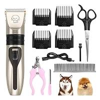 ihocon: TekkPerry Dog Grooming Kit Clippers, Rechargeable寵物無線電動剃毛器,指甲剪等美容套件