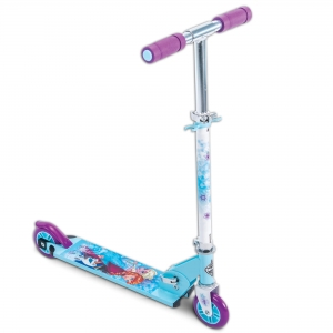 ihocon: Disney Frozen Girls' Inline Folding Kick Scooter by Huffy, Blue 迪斯尼冰雪奇緣兒童滑板車
