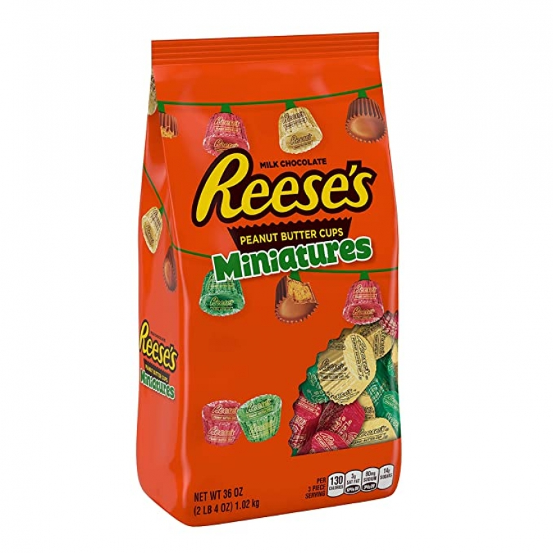 ihocon: REESE'S Christmas Candy Holiday Peanut Butter Cup Miniatures 36 oz.巧克力
