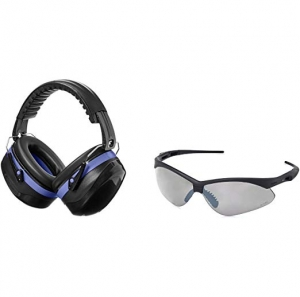 ihocon: AmazonBasics Safety Ear Muffs in Black and Blue & Safety Glasses in Smoke Lens 安全耳罩及安全眼鏡