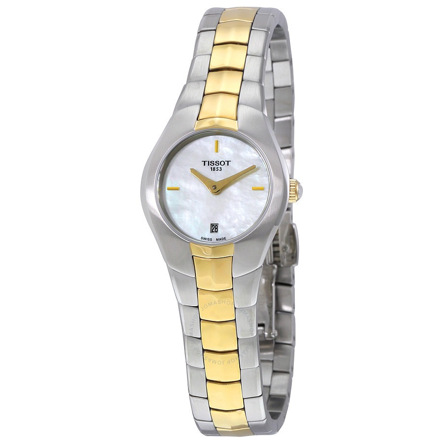 ihocon: Tissot T-Round Mother of Pearl Dial Two-tone Ladies Watch 天梭女錶