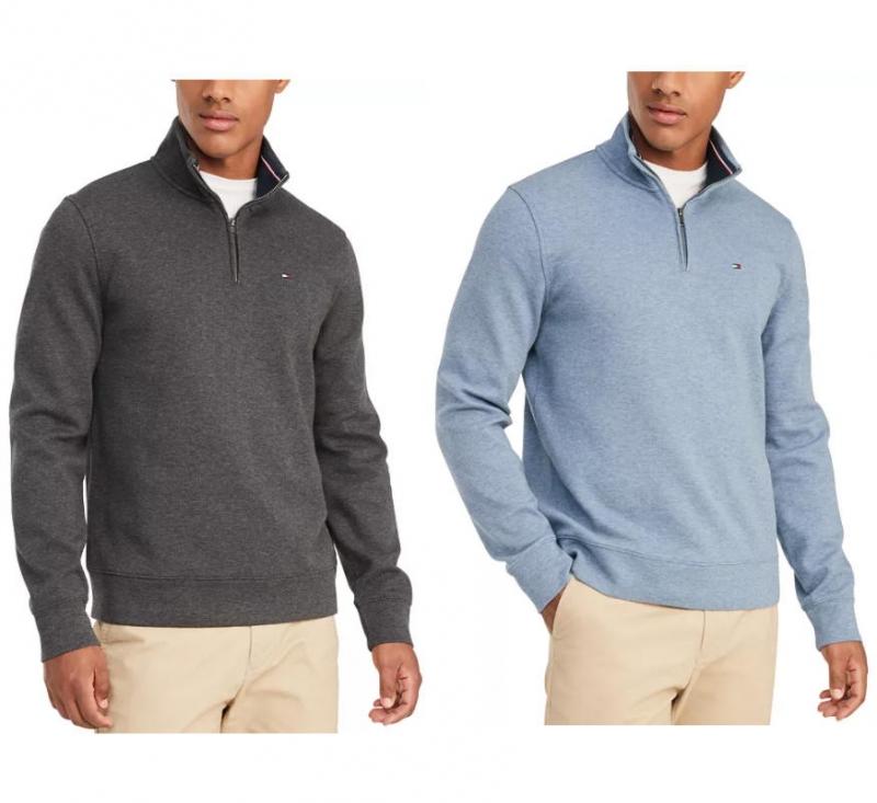 ihocon: Tommy Hilfiger Men's French Rib  Quarter-Zip Pullover 男式拉鍊套頭衫-多色可選