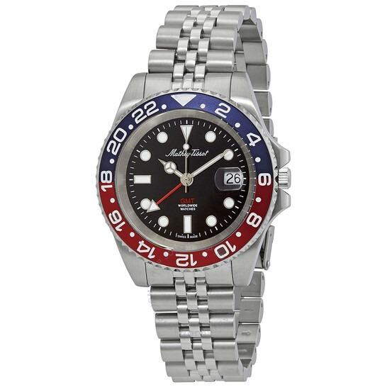 ihocon: Mathey-Tissot Mathy Vintage GMT Black Dial Pepsi Bezel Men's Watch H903AR -   男錶