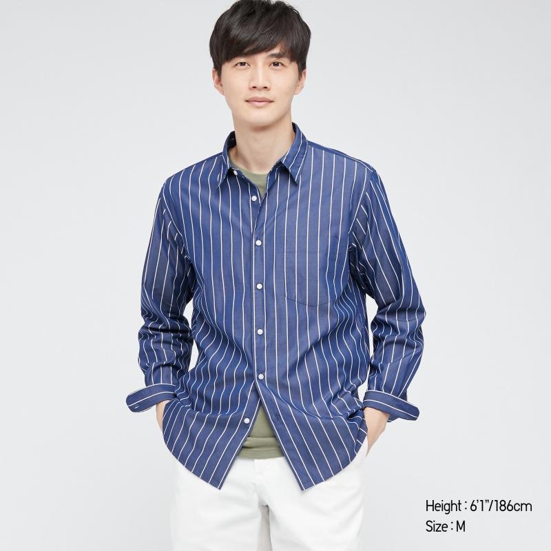 ihocon: UNIQLO MEN EXTRA FINE COTTON BROADCLOTH LONG-SLEEVE SHIRT 男士100%純棉長袖襯衫