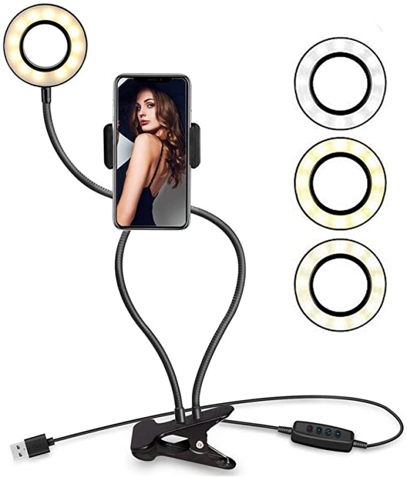 ihocon: Looffy Selfie Ring Light with Cell Phone Holder Stand 手機自拍補光環形燈手機固定架